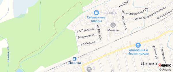 Весенняя улица на карте села Джалка с номерами домов