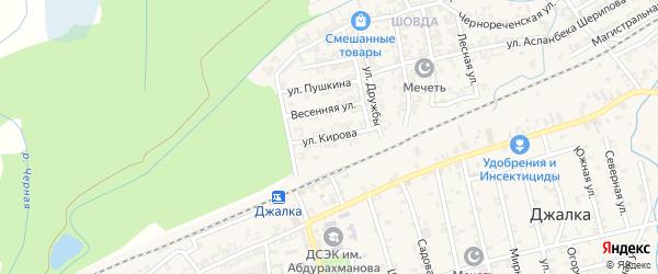 Улица Кирова на карте села Джалка с номерами домов