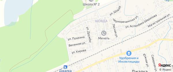 Крайняя улица на карте села Джалка с номерами домов