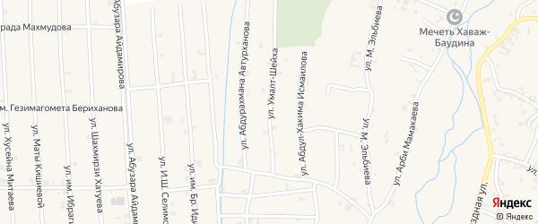 Улица Абдурахмана Автурханова на карте села Автуры с номерами домов