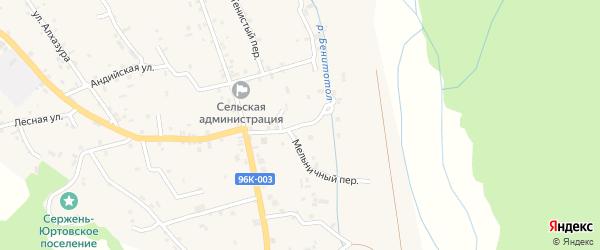 Мельничная улица на карте села Сержень-Юрт с номерами домов