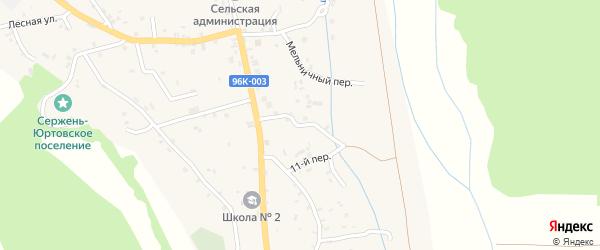 Клубный переулок на карте села Сержень-Юрт с номерами домов
