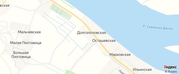 Карта Долгополовской деревни в Архангельской области с улицами и номерами домов