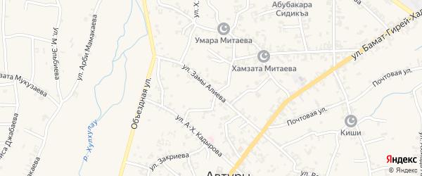 Улица им Замы Алиева на карте села Автуры с номерами домов