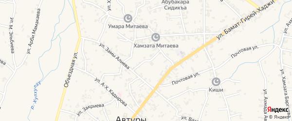 Переулок Галаматова Исрапила на карте села Автуры с номерами домов