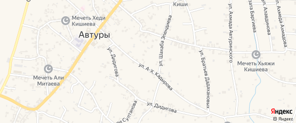 Переулок 1-й Х.Баргиева на карте села Автуры с номерами домов
