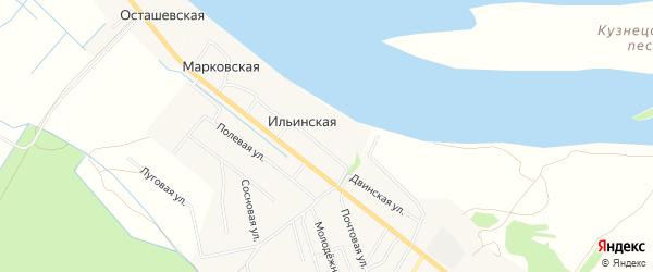 Карта Ильинской деревни в Архангельской области с улицами и номерами домов