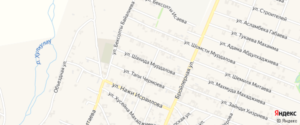 Улица Шахида Мурдалова на карте села Автуры с номерами домов
