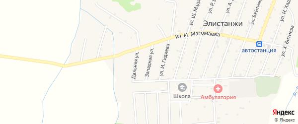 Западная улица на карте села Элистанжи с номерами домов