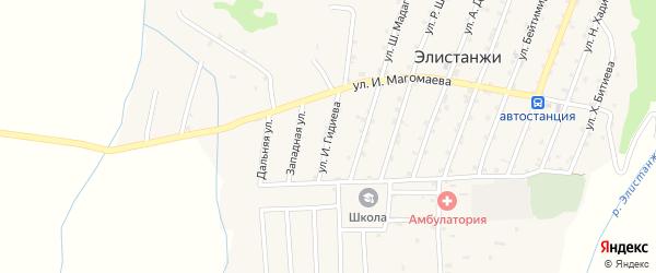 Улица И.Гидиева на карте села Элистанжи с номерами домов