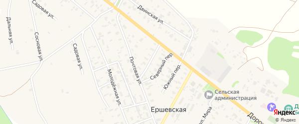 Красный переулок на карте Ершевской деревни с номерами домов