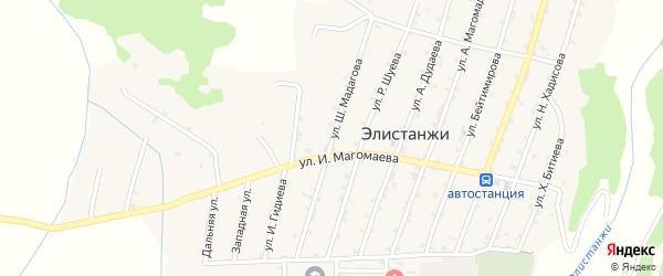 Улица Ш.Мадагова на карте села Элистанжи с номерами домов