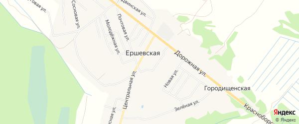 Карта Ершевской деревни в Архангельской области с улицами и номерами домов
