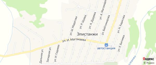 Улица Р.Шуева на карте села Элистанжи с номерами домов