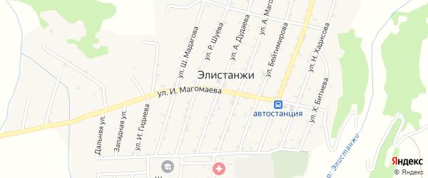 Улица И.Магомаева на карте села Элистанжи с номерами домов