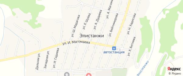 Улица Хамзатова Умара на карте села Элистанжи с номерами домов