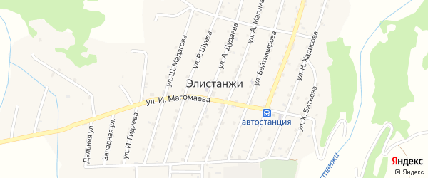 А.Магамадова 3-й переулок на карте села Элистанжи с номерами домов