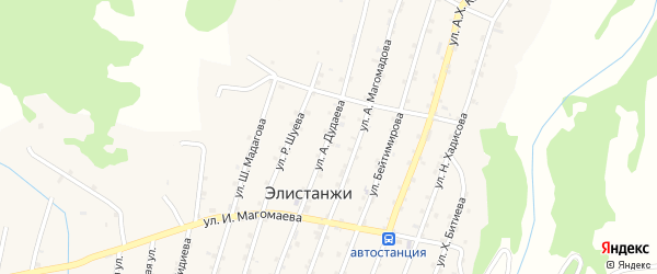 Улица А.Дудаева на карте села Элистанжи с номерами домов
