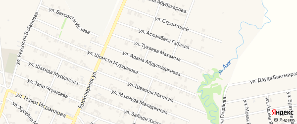 Улица Адама Абдулхаджиева на карте села Автуры с номерами домов