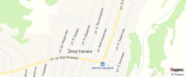 Улица А.Магомадова на карте села Элистанжи с номерами домов
