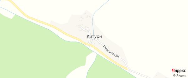 Школьная улица на карте села Китури с номерами домов
