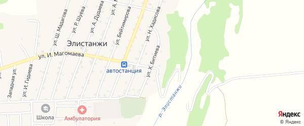 Улица Хасана Битиева на карте села Элистанжи с номерами домов