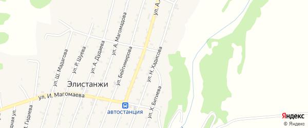 Улица Н.Хадисова на карте села Элистанжи с номерами домов