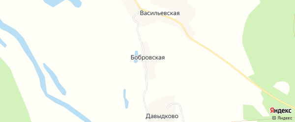 Карта Бобровской деревни в Архангельской области с улицами и номерами домов