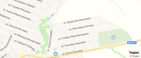 Улица Магамеда Чигиева на карте села Автуры с номерами домов