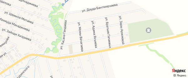 Улица Жунайда Адагаева на карте села Автуры с номерами домов