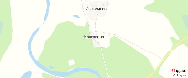 Карта деревни Красавино в Архангельской области с улицами и номерами домов