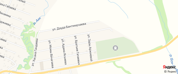 Улица Зары Аржиевой на карте села Автуры с номерами домов