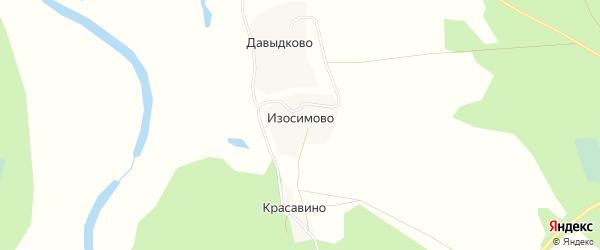 Карта деревни Изосимово в Архангельской области с улицами и номерами домов