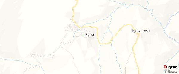 Карта села Буни в Чечне с улицами и номерами домов