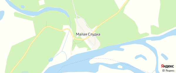 Карта деревни Малой Слудки в Архангельской области с улицами и номерами домов