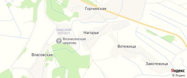 Карта деревни Нагорья в Архангельской области с улицами и номерами домов