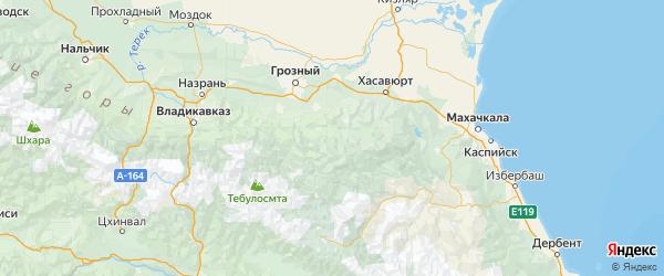 Карта Веденского района республики Чечня с городами и населенными пунктами