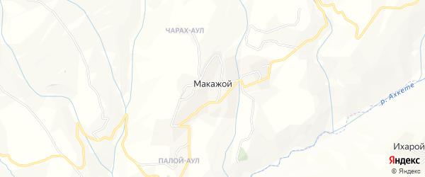 Карта села Макажой в Чечне с улицами и номерами домов