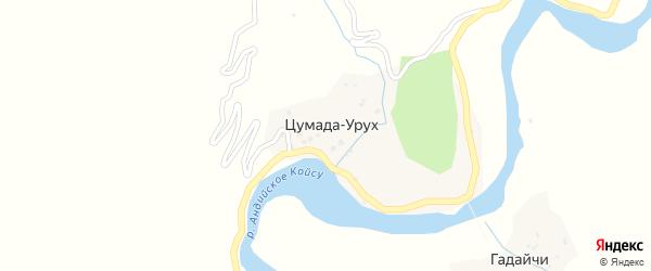 Четвертая улица на карте села Цумады-Уруха с номерами домов