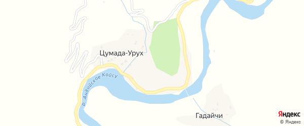 Вторая улица на карте села Цумады-Уруха с номерами домов