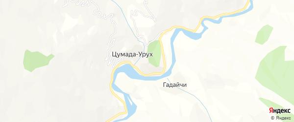 Карта села Цумады-Уруха в Дагестане с улицами и номерами домов