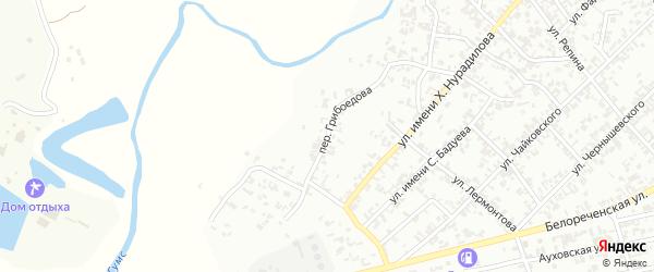 Переулок Грибоедова на карте Гудермеса с номерами домов