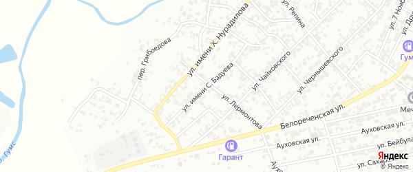 Улица С.Бадуева на карте Гудермеса с номерами домов