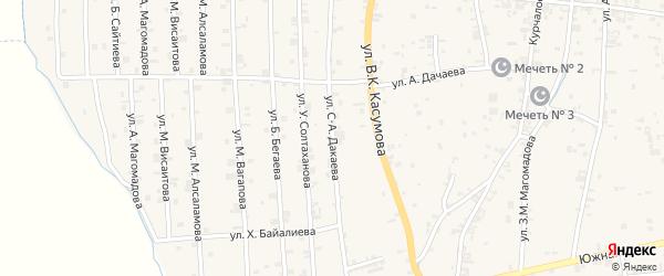 Западная 1-я улица на карте села Курчалой с номерами домов