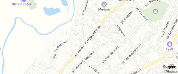 Улица Грибоедова на карте Гудермеса с номерами домов