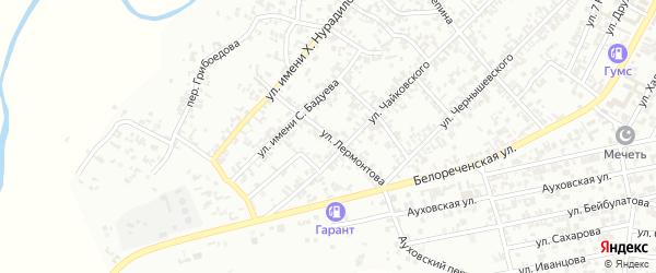Улица Лермонтова на карте Гудермеса с номерами домов