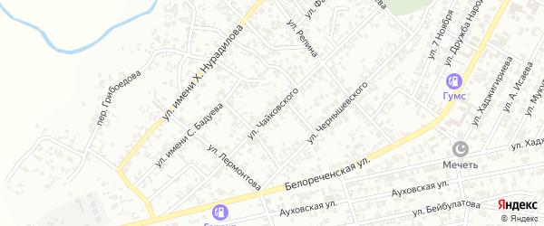 Улица Чайковского на карте Гудермеса с номерами домов