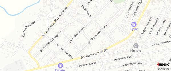 Улица Чайкина на карте Гудермеса с номерами домов