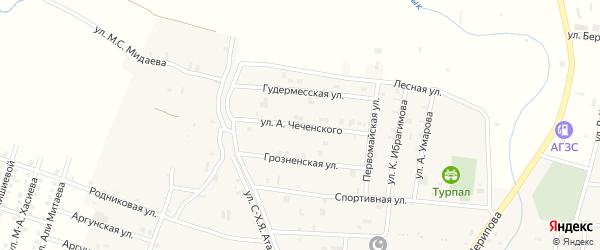 Улица А.Чеченского на карте села Курчалой с номерами домов