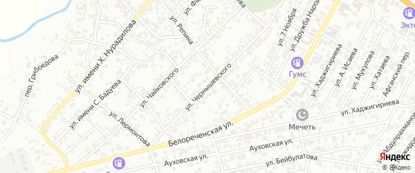 Улица Чернышевского на карте Гудермеса с номерами домов